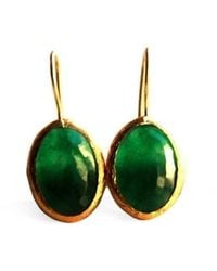 Toosis Green Oval Faceted Jade Earrings - Lyst