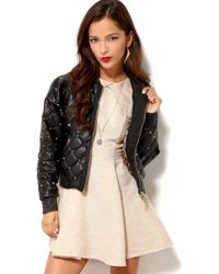 Akira Black Label - Spiked Quilted Pleather Bomber - Lyst
