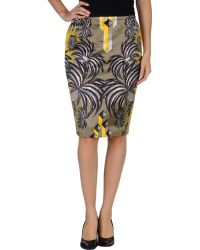 JC de Castelbajac Knee Length Skirt khaki - Lyst
