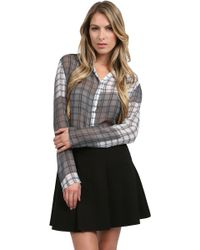 Nicole Miller Plaid Top - Lyst