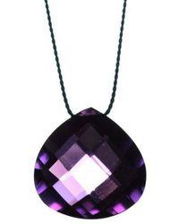 Vivien Frank Designs Solitaire Purple Amethyst On Silk Cord - Lyst
