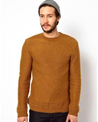 Edwin Crew Neck Sweater Docker Knit in Brown for Men | Lyst