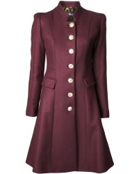 Just Cavalli Single Breasted Flared Coat - Lyst