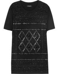 Balmain Embellished Cottonjersey Tshirt - Lyst