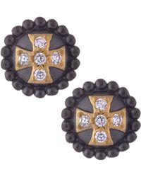Belargo - Round Cross Stud Earrings - Lyst