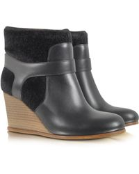 MM6 by Maison Martin Margiela - Black Eco Fur And Leather Wedge Bootie - Lyst