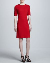 Michael Kors Boucle Crepe Shift Dress Crimson - Lyst
