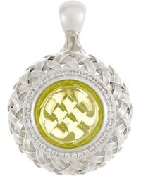 Slane - Diamond Pave Lemon Citrine Basket-Weave Pendant - Lyst