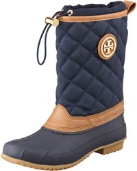 Tory Burch Denal Quilted Rain Boot Bright Navy - Lyst