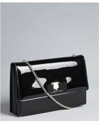 Ferragamo - Black Patent Leather Grosgrain Embellished Chain Shoulder Strap Evening Bag - Lyst