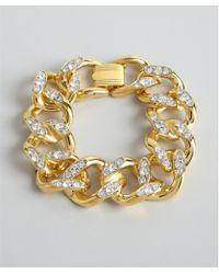Kenneth Jay Lane Gold Link With Pave Crystal Bracelet - Lyst