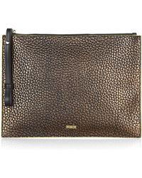 McQ by Alexander McQueen Metallic Leather Clutch - Lyst