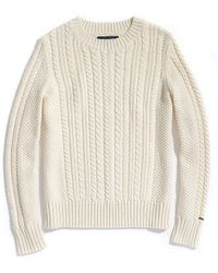 Tommy Hilfiger Long Sleeve Cable Crew Neck Sweater - Lyst