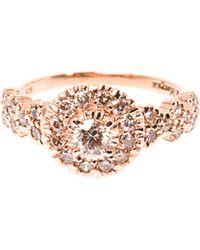Zoe & Morgan - Princess Diamond and Rose Gold Ring - Lyst