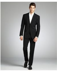 Dolce & Gabbana Black Tick Pattern Wool Two-Button 'Martini' Suit With Flat Front Pants - Lyst