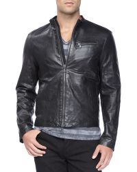 John Varvatos Tumbled Leather Moto Jacket - Lyst