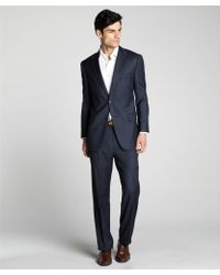 Joseph Abboud Navy Plaid Super 110s Wool Twobutton Suit with Flat Front Pants - Lyst
