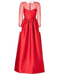 Valentino Silk Evening Gown With Collar In Red - Lyst