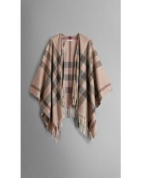 Burberry Check Merino Wool Cashmere Wrap - Lyst