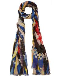 Play Mantero - Blue and Yellow Roses Print Scarf - Lyst