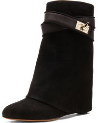 Givenchy Suede Shark Lock Boot - Lyst