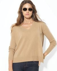 Ralph Lauren Drop Shoulder Cashmere Sweater - Lyst