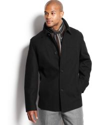 Perry Ellis - Button Front Woolblend Car Coat with Scarf - Lyst
