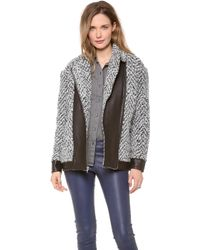 Thakoon Addition - Quilted Leather Combo Coat - Lyst