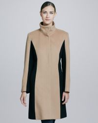 Sofia Cashmere Funnelneck Colorblocked Wool Cashmere Coat - Lyst