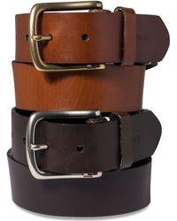 Tommy Hilfiger Striped-Tab Leather Belt - Lyst