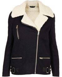 Topshop Wool Biker Jacket - Lyst