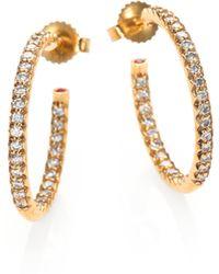 Roberto Coin Diamond & 18K Yellow Gold Hoop Earrings/0.75 - Lyst