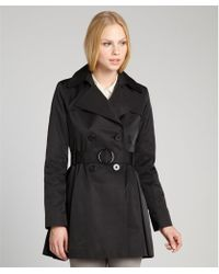 Via Spiga Black Cotton Blend Double Breasted Belted Trench Coat - Lyst