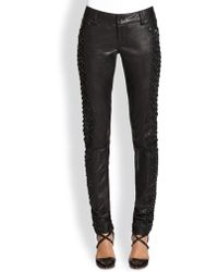 Alice + Olivia Embellished Cutout Leather Pants - Lyst
