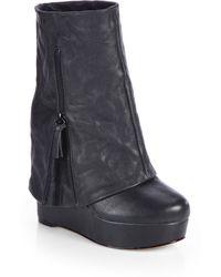 Alice + Olivia Yeardley Leather Foldover Wedge Boots - Lyst