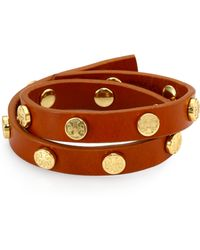 Tory Burch Logo Stud Leather Double-Wrap Bracelet - Lyst