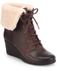 Ugg Zea Suede Lace-Up Wedge Ankle Boots - Lyst