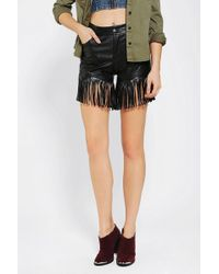 Urban Outfitters Reverse Vegan Leather Fringe Short - Lyst