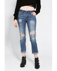 Urban Outfitters Bdg Slim Slouch Jean Destroyed Indigo - Lyst