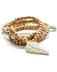Vivien Frank Designs Wood Leaf Necklace - Lyst