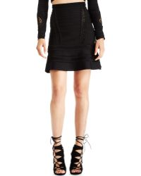Hervé Léger Perforated Bandage Skirt - Lyst