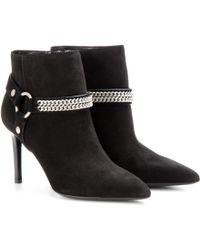 Saint Laurent Paris Suede Ankle Boots - Lyst