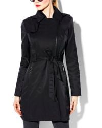 Vince Camuto Zipper belted Trench Coat - Lyst
