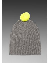 Autumn Cashmere 2 Tone Bag Hat with Pom Pom in Gray - Lyst