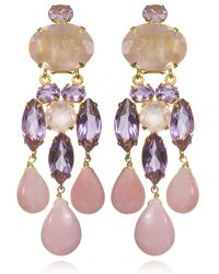 Bounkit Amethyst, Rose Quartz & Pink Opal Chandelier Earrings - Lyst