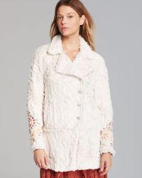 Free People Coat Faux Fur Embellished Swing - Lyst