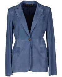 Gucci Leather Outerwear blue - Lyst
