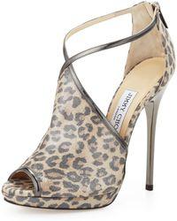 Jimmy Choo Fey Peeptoe Leopardprint Sandal animal - Lyst