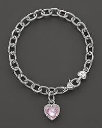 Judith Ripka - Single Heart Pink Crystal Charm Bracelet - Lyst