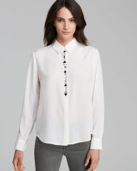Vince Camuto Front Jewel Blouse - Lyst